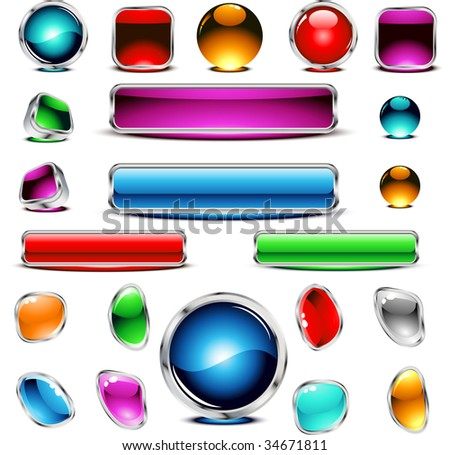 Glossy buttons. Vector. - stock vector