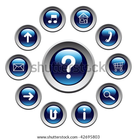 Glossy buttons with symbols. Vector. - stock vector