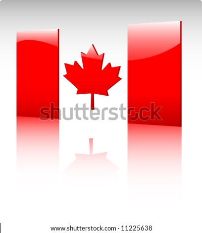 Glossy canadian flag icon illustration - stock vector