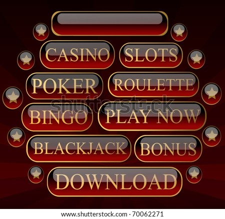 Glossy Casino Buttons Collection - stock vector