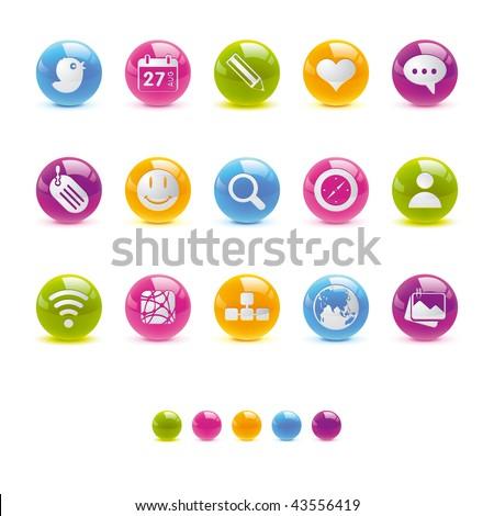 Glossy Circle Icons - Social Media in Vector Adobe Illustrator EPS 8. - stock vector
