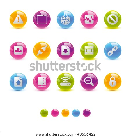Glossy Circle Icons - Web and Internet  in Vector Adobe Illustrator EPS 8. - stock vector