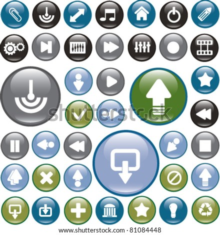 glossy circle interface buttons, icons, signs, vector illustrations - stock vector