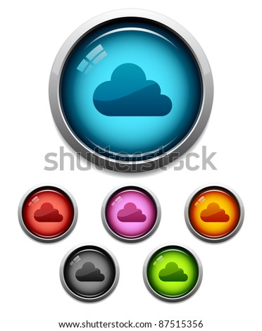 Glossy cloud button icon set in 6 colors - stock vector