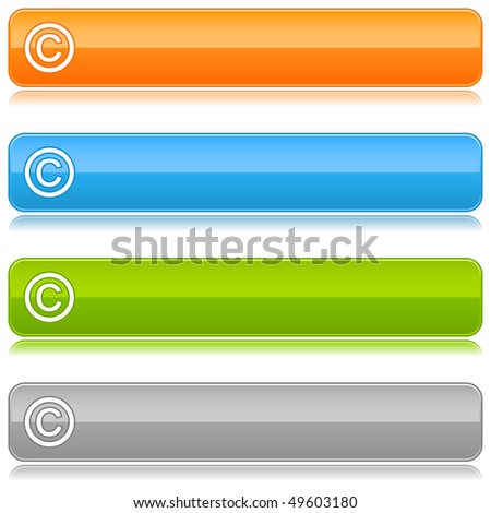 Glossy color rounded buttons with copyright symbol on white - stock vector