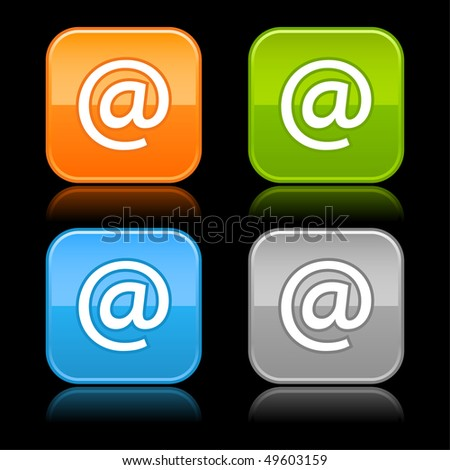 Glossy color rounded squares buttons with arroba symbol on black - stock vector