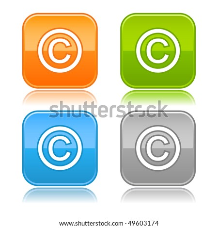 Glossy color rounded squares buttons with copyright symbol on white - stock vector