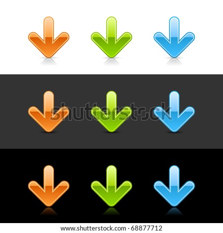 Glossy colored arrow down sign web 2.0 icons with shadow and reflection on black, gray and white - stock vector
