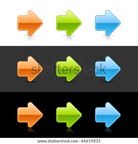 Glossy colored arrow sign web 2.0 buttons with shadow and reflection on white, gray, and black