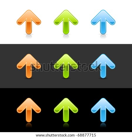 Glossy colored arrow up sign web 2.0 icons with shadow and reflection on black, gray and white - stock vector