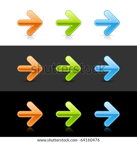 Glossy colored arrow web 2.0 buttons with shadow and reflection - stock vector