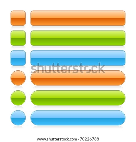 Glossy colored blank web 2.0 button with gray reflection on white background - stock vector
