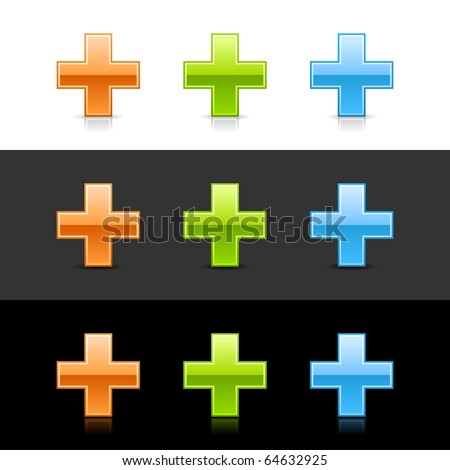 Glossy colored cross sign web 2.0 buttons with shadow and reflection on white, gray, and black - stock vector