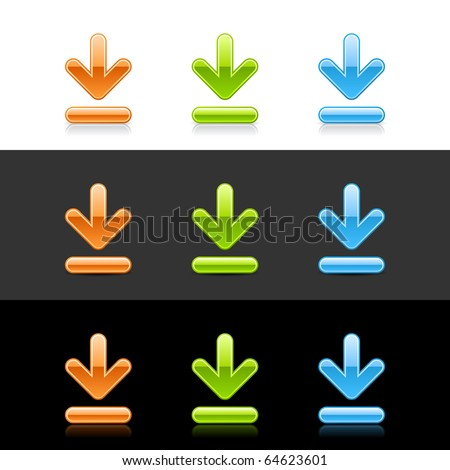 Glossy colored download sign web 2.0 buttons with shadow and reflection on white, gray, and black - stock vector
