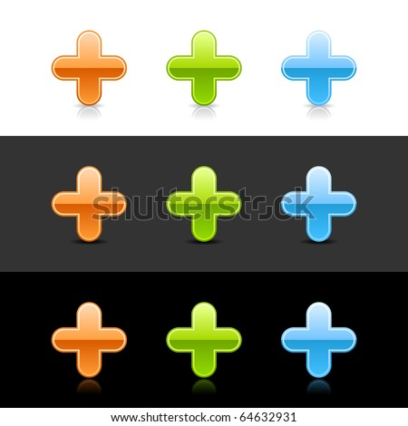 Glossy colored plus sign web 2.0 buttons with shadow and reflection on white, gray, and black - stock vector