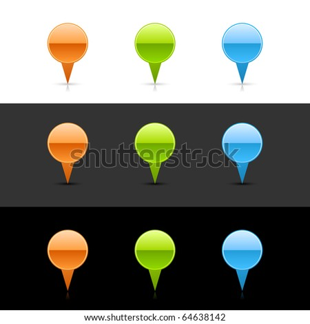 Glossy colored round map pin web 2.0 buttons with shadow and reflection on white, gray and black - stock vector