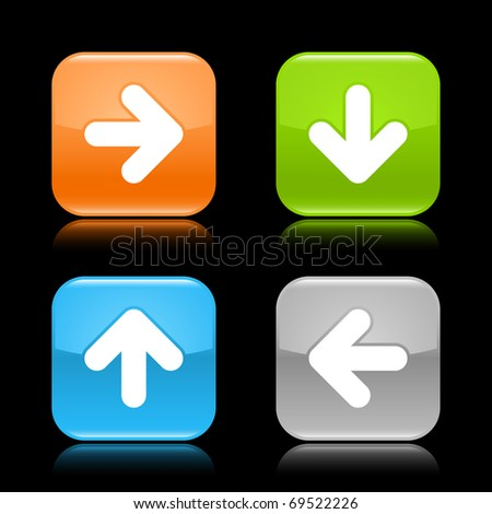 Glossy colored rounded square buttons with arrow sign with reflection on black background