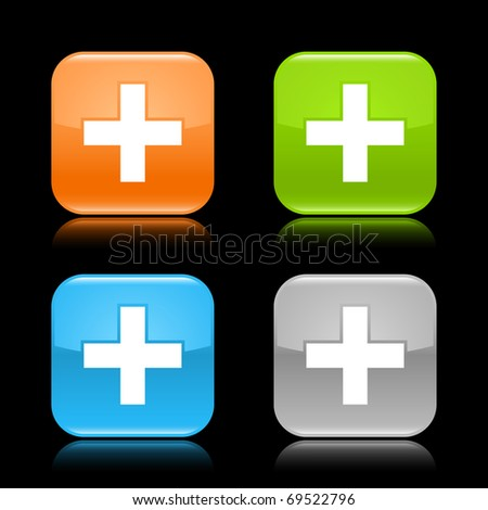 Glossy colored rounded square buttons with cross sign with reflection on black background - stock vector