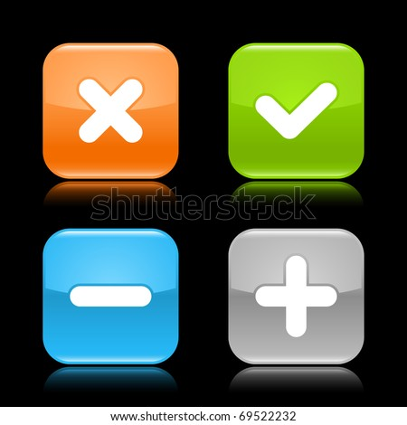 Glossy colored rounded square buttons with validation sign with reflection on black background - stock vector