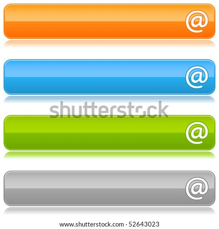 Glossy colored web buttons with arroba sign on a white - stock vector