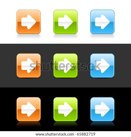 Glossy colored web 2.0 buttons with arrow simbol. Rounded square shapes with shadow and reflection on white, gray and black - stock vector