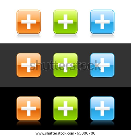Glossy colored web 2.0 buttons with cross sign. Rounded square shapes with shadow and reflection on white, gray and black - stock vector