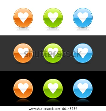 Glossy colored web 2.0 buttons with heart sign. Round shapes with shadow and reflection on white, gray and black - stock vector
