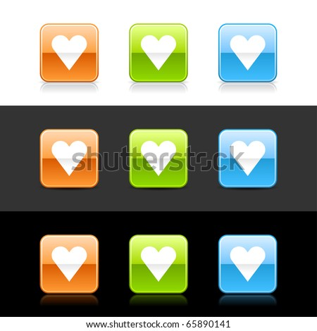 Glossy colored web 2.0 buttons with heart sign. Rounded square shapes with shadow and reflection on white, gray and black - stock vector