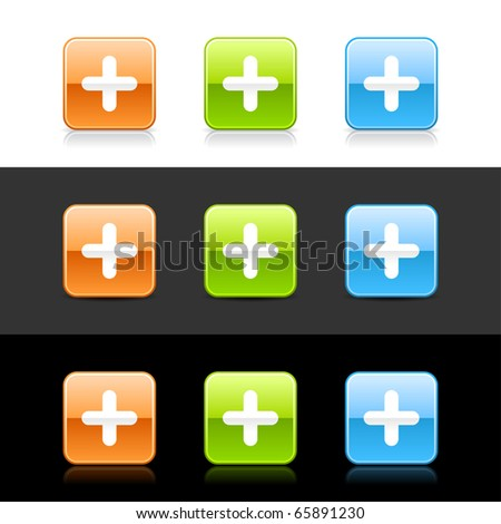 Glossy colored web 2.0 buttons with plus sign. Rounded square shapes with shadow and reflection on white, gray and black - stock vector