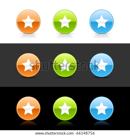 Glossy colored web 2.0 buttons with star sign. Round shapes with shadow and reflection on white, gray and black - stock vector