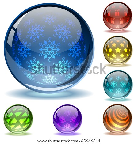Glossy colorful abstract Christmas  globes with different inner spherical patterns.EPS10 file. - stock vector