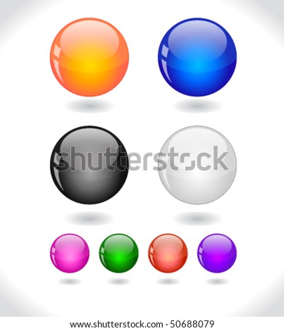 Glossy colorful abstract glass balls. EPS10 file.