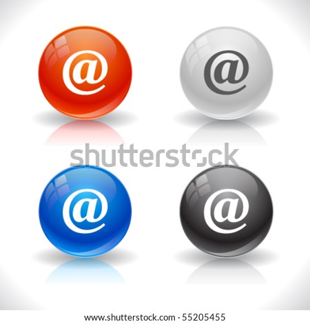 Glossy colorful abstract glass balls. EPS10 file. - stock vector