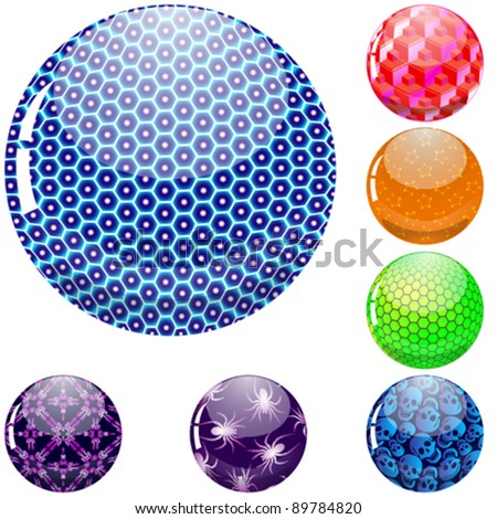 glossy colorful abstract globes with different inner spherical patterns, abstract vector art illustration; image contains transparency