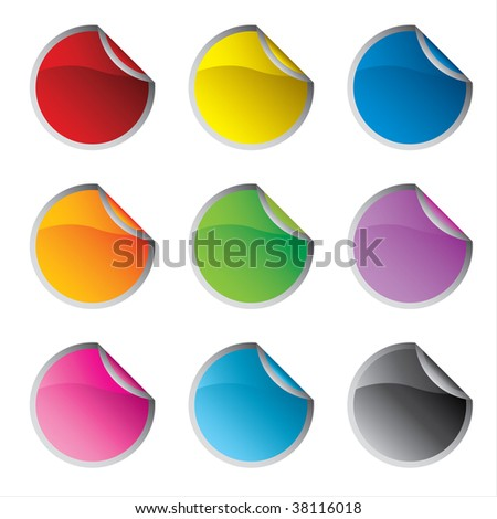 Glossy colorful circle stickers set