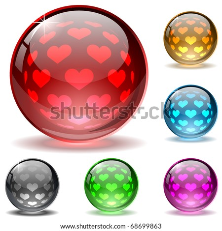 Glossy colorful globes with hearts inner spherical pattern. Valentine's Day button. - stock vector