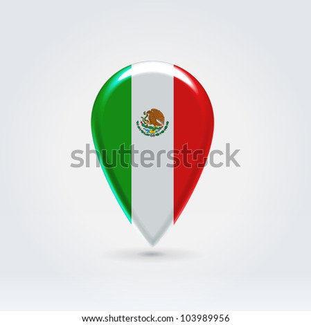 Glossy colorful mexico map application point label symbol hanging over