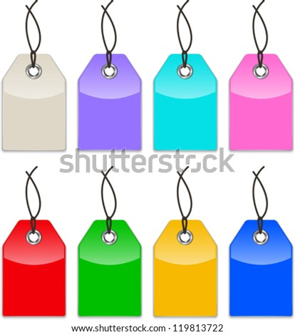 Glossy colorful price tags. Shopping labels. Vector illustration - stock vector