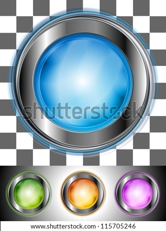 Glossy colourful buttons with the same illumination. May be applied to any background. Vector design eps 10 - stock vector