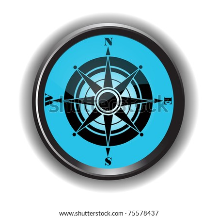 Glossy Compass - stock vector