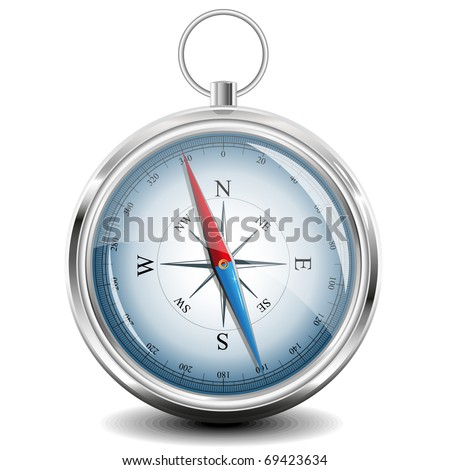 Glossy Compass with windrose. Vector Illustration. EPS8 - stock vector