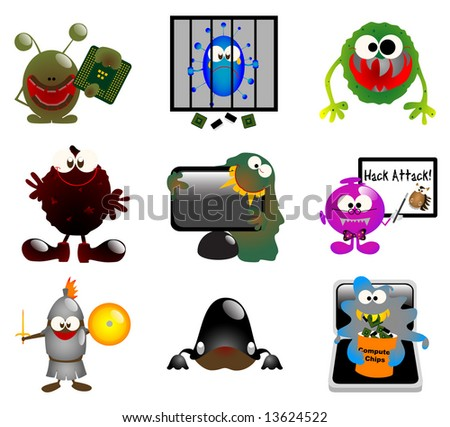 Glossy computer virus icons - Part 1 (vector) - stock vector