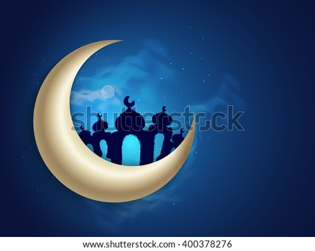 Glossy Crescent Moon with Mosque on blue night background for Holy Month of Muslim Community, Ramadan Kareem celebration. - stock vector