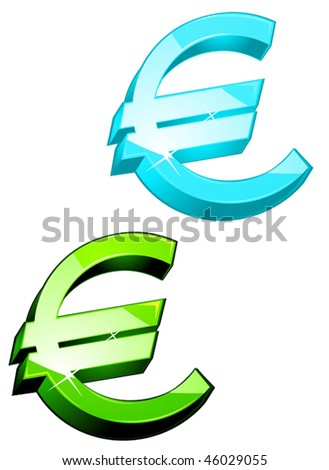 Glossy currency symbols of euro for design. Jpeg version is also available - stock vector