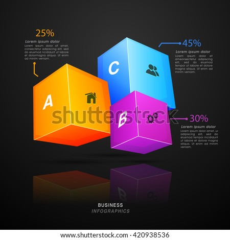 Glossy 3D cubes infographic with web symbols for Business purpose. - stock vector