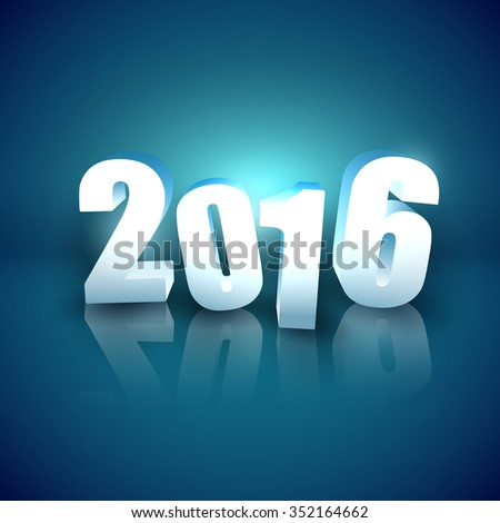 Glossy 3D numbers on blue background - New Year 2016