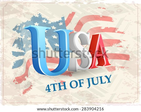 Glossy 3D text USA on national flag color vintage background for 4th of July, American Independence Day celebration. - stock vector