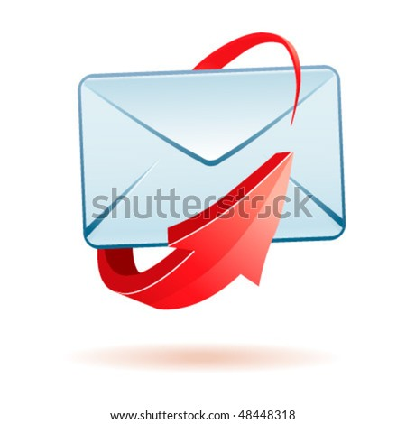 Glossy 3d vector mail icon - stock vector