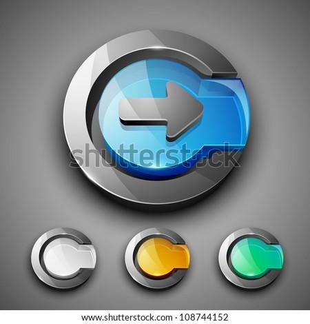 Glossy 3D web 2.0 right arrow symbol icon set. EPS 10. - stock vector