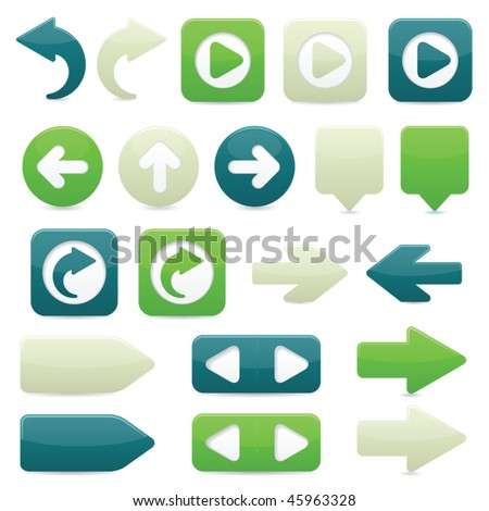 Glossy directional arrow buttons in bright green, dark blue and off-white - stock vector
